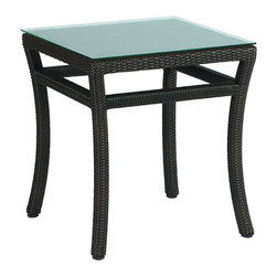 Frontgate - Skye Outdoor End Table, Patio Furniture - Ideal for any environment, including oceanfront and saltwater destinations. Durable aluminum frames woven with rich black walnut high-quality resin wicker. Specially formulated high-quality resin provides superior UV resistance and is formulated for a realistic look and feel. Topped with tempered glass. The superbly built Skye Side Table from Summer Classics&reg is the perfect accompaniment to this lightweight yet durable collection. The table is fully handwoven with high-quality resin wicker, making this collection perfect for worry-free coastal enjoyment or any outdoor setting.Part of the Skye Collection by Summer Classics&reg.  . . .