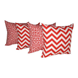 Land of Pillows - Chevron Red and Towers Rojo Red and White Maze Outdoor Throw Pillows - Set of 4 - Give your decor a pop of bold red and white, with these geometrically patterned throw pillows. This set of four decorative pillows includes two with a stylish chevron design, and two with a chic greek key pattern. These square pillows are crafted from a durable fabric that is stain, fade and water resistant, so they look great indoors or out.
