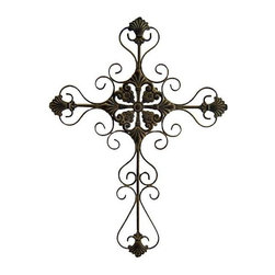 Cheung's - Tall Metal Cross Scroll Design in Rustic (Large) - Choose Size: Large. Add a contemporary style to your home decor with the 28.75 in. Tall Metal Cross. This stunning wall decor comes in a beautiful rustic color. Can be mounted on the wall of your living room. This elegantly designed metal cross will be a feast for your eyes. Small - 22.84 in. L x 30.71 in. W x 28.75 in. H (2 lbs.). Large - 22.84 in. L x 35.04 in. W x 33 in. H (2.25 lbs.)
