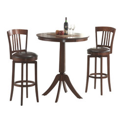 Hillsdale Furniture - Hillsdale Plainview 3-Piece Pub Table Set with Canton Barstools - The Hillsdale Plainview 3 piece pub table set with Canton barstools collection is a great bar stool and table set. You and those you live with or serve will be impressed with the round table and the pair of chairs that are provided. They are made of a pretty Canton hardwood material and they contain a gorgeous brown finish. The softly padded seat and thinly slatted back that the chairs contain will help make you and others comfortable. These chairs are light and easy to carry in addition to providing a 360 degree swivel feature.