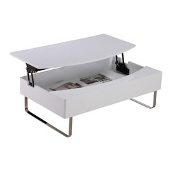White Line Imports - Bay Storage Coffee Table in High Gloss White - Featuring lifting part, legs in silver gray color and high gloss whiterectangular top performed insleek contemporary style thisBay Storage Coffee Table is the embodiment of functionality and modern look. Inside of it you can store magazines and anything you want.