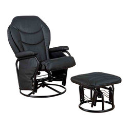 "Adarn Inc - Recliners with Ottomans Glider Rocker with Round Base Ottoman, Black - The look of leather for less makes this glider rocker with ottoman a must for any - or every - room in your home. A uniquely shaped back is accentuated with accent stitching and paired with a rounded front seat for supportive comfort. A matching ottoman offers cushioned support for your legs and invites you to put up your feet and stay awhile. Pillow armrests top the metal base, which features glide and recline mechanisms for total relaxation. Your choice of black or bone leatherette lets you dress this recliner with ottoman set up as much or as little as you like for a beautiful addition to your den or living room decor.Ottoman:19.5""L x 15""W x 15.25""H"