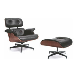 Modern black leather chaise lounge and ottoman Empire - Chaise lounge and ottoman Empire is an excellent quality replica of world famous Eames lounge and ottoman. Being a piece of permanent New York MoMa collection nowadays, the original design was created at 1956. Chaise Empire copies design of original Eames masterpiece not only in terms of exterior beauty but also its highest quality. The body of lunge chair and ottoman is upholstered in top quality Italian leather. The frame is made of walnut bent plywood.