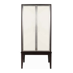 Kathy Kuo Home - Raquel Mid Century Modern Deco Ivory Espresso Lingerie Cabinet - This lingerie chest is the cream to your coffee, the yin to your yang, the Dick to your Liz. It's modern and classic, with java-stained wood and creamy, nickel-framed doors. And the inside is just as sexy and sleek. There are drawers galore and open shelves to store all those things you want to hide during the day — and find at night.