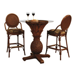 Hospitality Rattan - 3 PC Pub Set in TC Antique Finish w Glass (Glacier) - Fabric: Glacier. Welcome guests with a symbolic pineapple themed pub ensemble. The classic fruit is a sign of hospitality and with two matched stools, it's guaranteed to impress with comfort while you provide the service. Reinforced rattan cane bases pair with woven accents. Include: Two Barstools & Pub. Made of Fiberglass Cast & Rattan. Finished in TC Antique Color. Includes cushion with choice of fabric in a variety of colors and patterns. Stationary Barstools. Fully assembled. Barstool: 21 in. W x 25 in. L x 49 in. H (17 lbs.)This immensely popular barstool is known as Oyster Bay. It is crafted of foam padded hand woven cane in a herringbone weave, over solid rattan frame. The TC Antique finish is our most popular antique finish, and you will find it available for other collections as well. The woven leather bindings used throughout Oyster Nay ensures its durability and quality for many years of use. The barstools and counter stools feature commercial grade reinforced rattan base with brass footrest. In addition your choice of over 45 fabrics is available on the Oyster Bay Collection. Fully assembled. The Sunset Reef Pub table is a pineapple styled shape. The 3 PC set includes two oyster bay Barstools 30 in. and a Sunset Reef Pub Table with 36 in. round glass.