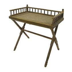 Bamboo Campaign Desk - Vintage bamboo detachable tray table that doubles as a writing desk. It features a caned wood top and a fold-up stand.