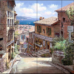 The Tile Mural Store (USA) - Tile Mural - Pathway Congnes - Kitchen Backsplash Ideas - This beautiful artwork by Sam Park has been digitally reproduced for tiles and depicts a nice street view.  This street scene tile mural would be perfect as part of your kitchen backsplash tile project or your tub and shower surround bathroom tile project. Street scenes images on tiles add a unique element to your tiling project and are a great kitchen backsplash idea. Use a street scene tile mural, perhaps a Tuscan theme tile mural, for a wall tile project in any room in your home where you want to add interesting wall tile.