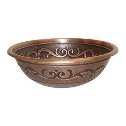 YOSEMITE HOME DECOR - Copper Sink Self Rimming Flower & Vine Design - Self Rimming Flower & Vine Design  which utilizes 16 gauge copper for maximum structural rigidity