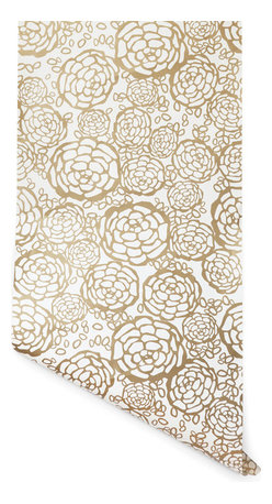 Hygge & West - Petal Pusher Wallpaper, Gold - This wallpaper's got real flower power. Screen-printed on coated paper, a garden of vintage blooms adds modern, graphic punch for timeless appeal. Pick petals in a bouquet of colors.