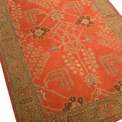 Jaipur - Poeme Rust Chamberey Rug, 5'x8' - Haute style and hot colors combine in this modern interpretation of a design classic. Traditional, but not stuffy, this rug is hand-tufted in India from pure wool for long-lasting softness and color retention that belies its affordable price.