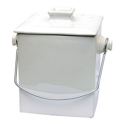 Le Chef - Le Chef French White Ceramic Square 1.5-gallon Compost Pail - Being green never looked so good as with this ceramic compost pail. This white ceramic compost pail with a silver handle is so attractive that no one will suspect what is inside. The charcoal filter on the lid does not let odors run amok.