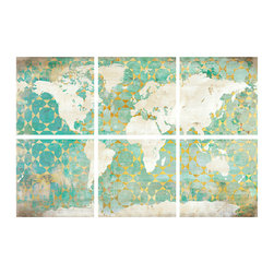 Serene World Knife Gel Giclee - Set of 6 - Broken into six parts that hang in harmonious suspension on your wall, the Serene World Knife Gel Giclee is composed of an ivory-tinted world map, superimposed on aged turquoise oceans patterned with golden tile designs for a gentle, floating appearance. This top-quality set of fine art prints conveys both a global feel and a balanced, centered sensibility.