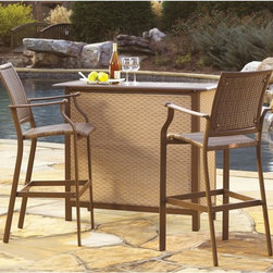 Hospitality Rattan - Panama Jack Island Cove Woven Slatted Bar Height Bistro Set Multicolor - PJO-800 - Shop for Tables and Chairs Sets from Hayneedle.com! Being prepared to entertain is a skill but lucky for you the Panama Jack Island Cove Woven Slatted Bar Height Bistro Set will never be caught unawares. This charmingly simple outdoor set starts with frames of powder-coated aluminum on each piece giving you a stable and weather-proof base. The aluminum is then powder-coated in a rich shade of espresso the perfect match for the Viro resin wicker. Viro looks and feels like authentic wicker but it has a synthetic makeup that allows it to resist rot cracking and fading. Each chair uses this material in the seat and seat back and it covers the exterior of the bar as well. The slatted top of the bar adds visual variety while making it lightweight and easy to clean.About Hospitality RattanHospitality Rattan has been a leading manufacturer and distributor of contract quality rattan wicker and bamboo furnishings since 2000. The company's product lines have become dominant in the Casual Rattan Wicker and Outdoor Markets because of their quality construction variety and attractive design. Designed for buyers who appreciate upscale furniture with a tropical feel Hospitality Rattan offers a range of indoor and outdoor collections featuring all-aluminum frames woven with Viro or Rehau synthetic wicker fiber that will not fade or crack when subjected to the elements. Hospitality Rattan furniture is manufactured to hospitality specifications and quality standards which exceed the standards for residential use.Hospitality Rattan's Environmental Commitment Hospitality Rattan is continually looking for ways to limit their impact on the environment and is always trying to use the most environmentally friendly manufacturing techniques and materials possible. The company manufactures the highest quality furniture following sound and responsible environmental policies with minimal impac