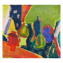 Still Life With Navy Blue Cloth, Original, Painting - Although quite abstract, this is a rather classical still life with fruit, jars, fabric and a table top.
