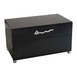John Richard - John Richard Gloss Black Box with Nickel Handles Large JRA-9422 - A large box in glossy black crocodile with a contemporary polished nickel handle and feet. This item comes in two sizes.