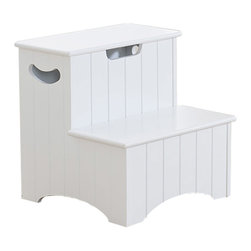 Khome - Khome White Finish Wood Bedroom Step Stool With Storage And Handles - Max Load 200 lbs of each step.