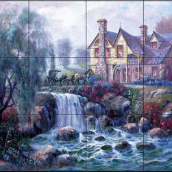 The Tile Mural Store (USA) - Tile Mural - Cv - Crestline Falls - Kitchen Backsplash Ideas - This beautiful artwork by Carl Valente has been digitally reproduced for tiles and depicts a waterfall in front of an old house with a horse and buggy.  This woodland tile mural would be perfect as part of your kitchen backsplash tile project or your tub and shower surround bathroom tile project. Wood land images on tiles add a unique element to your tiling project and are a great kitchen backsplash idea. Use a woodland scene tile mural for a wall tile project in any room in your home where you want to add interesting wall tile.