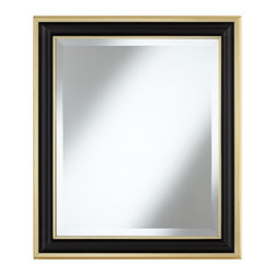 "Lamps Plus - Traditional Matte Black 29 1/4"" High Gold Trim Wall Mirror - This black and gold wall mirror features a sophisticated concave frame. The center of the frame is finished in matte black with inside and outer trim in dazzling gold. Beveled glass adds an enchanting detail to this accent piece that can be hung horizontally or vertically. Concave polyurethane frame. Black finish. Gold trim. Beveled glass. 29 1/4"" high. 25 1/4"" wide. Glass only is 19 1/4"" wide and 23 1/2"" high.  Concave polyurethane frame.    Black finish.   Gold trim.   Beveled glass.  29 1/4"" high.   25 1/4"" wide.   Glass only is 19 1/4"" wide and 23 1/2"" high."