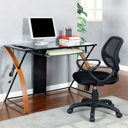 Furniture of America Z-Shape Tempered Glass Top Office Desk with USB Port - Oak - A desk is an important factor when it comes to working. The right one can help ensure success and enhance focus. The Z-Shape Tempered Glass Top Office Desk with USB Port – Oak/Black does just that. It's made from metal solid wood and tempered glass for a contemporary look. There are several built-in USB port and power outlets for convenience. About Furniture of AmericaBased in California Furniture of America has established itself as a premier provider of fine home furnishings. The people behind Furniture of America brand are moved by passion hard work and persistence. They are always striving to design the latest piece keeping in mind their mission to make quality furniture available to urban-minded shoppers without compromising the packaging integrity. Furniture of America offers unique coordinated and affordably designed furniture; they are a one-step resource for high-quality furniture with secure and professional packaging in the furniture industry.