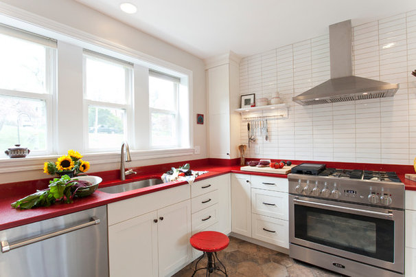 Kitchen of the Week: Red Energizes a White Scandinavian-Style Kitchen