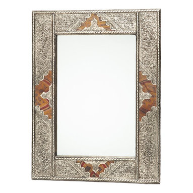 Moroccan Buzz - Moroccan Metal and Leather Mirror - This elegant handcrafted mirror features intricate silver and brass-colored metalwork with decorative leather accents on all four sides. It can be hung vertically or horizontally.