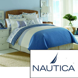 Nautica - Nautica Cali Coast 4-piece Comforter Set - Brighten up your bedroom decor with this four-piece comforter set from Nautica. Featuring a blue-and-white striped pattern for eye-catching appeal, this woven comforter is constructed out of 100 percent cotton to ensure a soft texture.