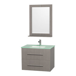 Wyndham Collection - Single Sink Bathroom Storage Vanity Set - Includes square porcelain undermount sink and matching mirror with shelf. Faucet not included. One functional door and drawer. Plenty of storage and counter space. Single faucet hole mount. Green glass top. Engineered to prevent warping and last a lifetime. 12 stage wood preparation, sanding, painting and finishing process. Highly water resistant low V.O.C. sealed finish. Unique and striking contemporary design. Modern wall mount design. Deep doweled drawers. Fully extending under mount soft close drawer slides. Concealed soft close door hinges. Made from solid oak hardwood. Gray oak and brushed chrome exterior hardware finish. Vanity: 30 in. W x 20.5 in. D x 22.75 in. H. Mirror: 24 in. W x 32 in. H. Care Instruction. Assembly instructions - Vanity. Assembly instructions - Counter Top. Assembly instructions - Undermount Sink. Assembly instructions - MirrorSimplicity and elegance combine in the perfect lines of the Centra vanity by the (No Suggestions) Collection. If cutting edge contemporary design is your style then the Centra vanity is for you modern, chic and built to last a lifetime. You'll never hear a noisy door again! The attention to detail on this beautiful vanity is second to none.