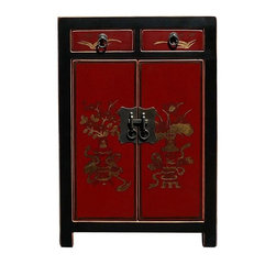Golden Lotus - Chinese Red Color Vases & Flowers Graphic Night Stand / End Table - This elegant night stand is made of solid elm wood and hand painted with vases and flowers graphic on the front side.