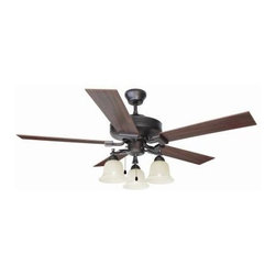 Design House - Indoor Ceiling Fans: Design House Ironwood 52 in. Brushed Bronze Ceiling Fan 154 - Shop for Lighting & Fans at The Home Depot. The Ironwood 52 in. fan has a traditional design. Tri-Mount adaptable this fan can be mounted with a downrod, in a close-up configuration or on a vaulted ceiling. A 3/4 in. diameter by 4 in. downrod is included. It has a 3-speed pull chain control and a reversible motor for comfort year round. The brushed bronze finish with snow glass shades has five reversible blades, one side is a redwood finish and the other side is a light maple finish. Stylish and made for year round use.