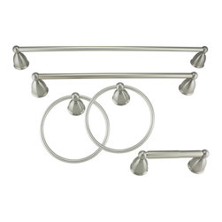 Danze - Danze Rosemont Brushed Nickel Bath Accessory Kit - This fashionable brushed-nickel bath accessory kit provides an eye-catching highlight for any bathroom decor. The durable construction and easy mounting of this handsome five-piece kit make it a must have for any bathroom renovation project.