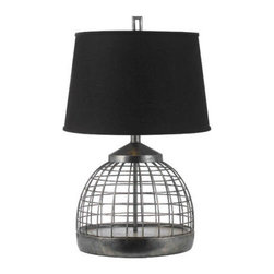 """AF Lighting - AF Lighting Grid Table Lamp in Antique Gun Metal w/ Black Linen Shade - AF Lighting 8318-TL Horizon Series """"Grid"""" Table Lamp with Black Poly Linen Shade and 3-Way Switch, Finished in Antique Gunmetal"""