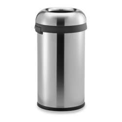 Simplehuman - simplehuman 60-Liter Stainless Steel Bullet Open Can - Stainless steel bistro-style 60-liter can is durable, functional and handsome. This large capacity trash can has an open top design that provides a wide opening for easy access from any angle.