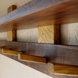 Entry Shelf - Introducing the Entry Shelf, part of the Honoring Fallen Trees - Shelving Collection. This simple zen like design is available in 4 unique urban salvaged hardwoods. You can choose from Claro Walnut, Mulberry, Valley Oak, and Silver Maple.