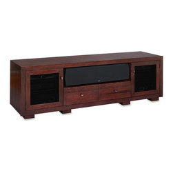 """Standout Designs - Standout Designs Haven EX 82"""" Wood TV Stand, Espresso on Cherry, Tinted Doors - Haven EX solid wood TV stands by Standout Designs combine premium hardwood lumber (Walnut, Cherry, or Ash), excellent AV features, and outstanding American craftsmanship into beautiful fine furniture. The Haven EX features dovetail drawer boxes, mitered door and face frames, and flush sides. Spacious enclosures each house up to 3 components each. Easy off/on removable back panels, ample wire chase holes, and hidden wheels deliver easy gear management. Vented adjustable wood shelves, vented bottom panel, and vented back panels provide passive ventilation (optional, heat-activated exhaust fan panels sold separately). Media drawers feature movable/removable drawer dividers for flexible storage. The Haven EX 82-inch TV stand hosts a wide center speaker on its open shelf and most flat screen TVs to 90 inches diagonal on its top.  Accommodate a high-powered rear-ported center speaker by leaving off the back panel behind the shelf. Standout Designs TV stands are skillfully made and beautifully finished by Pennsylvania craftsmen. Choose remote-friendly door glass (clear or tinted) or wood door panels. Includes 4 adjustable vented wood shelves each supporting up to 60 pounds. Black units feature satin nickel knobs; others feature oil-rubbed-bronze knobs. No assembly required. Your furniture may vary somewhat from the photos due to grain differences between individual pieces of wood. Cherry wood's natural markings add unique character to each Cherry furniture piece. Colors deepen/darken over time with exposure to air and light. Walnut wood features rich colors range from dark brown to deep purple-black and can include some cream tones. Includes residential inside delivery by appointment via lift-gate freight truck. Dimensions (WHD): Overall - 72"""" x 26-1/4"""" x 22""""; Enclosures - 19-3/4"""" x 20-1/2"""" x 20-1/2""""; Center Shelf - 39-1/4"""" x 10-1/8"""" x 20"""". Made in the USA."""