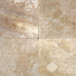 Golden Sunset Travertine Paver | 3cm | 24x24 | Tumbled - Golden Sunset Tumbled is a 3cm, 24x24 square travertine paver. The colors in the tile vary from gold, sienna, orange, tan and cream with varying patterns of white and gold on the surface. This tile is also known as Sienna Gold, due to it's brilliant color and vibrancy. Golden Sunset pavers have a tumbled finish, which gives the tile a rustic, natural look. The edges are rounded as well. The pits and grooves are left unfilled to keep the characteristic texture of travertine. Golden Sunset travertine pavers contain 35 pieces per pallet, which is equal to 140 square feet. This is an overstock product and is at a special sale price for the summer. Bring Golden Sunset travertine to your home before time runs out!