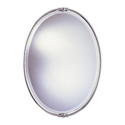 "Feiss - New London Beveled Mirror in Polished Nickel - This classy oval mirror is a beautiful way to decorate your home. It's shiny and clean finish make a statement about the way you care about your home. The aura of this mirror says sophistication and modern taste. Allow Murray Feiss to dress up your home today! Features: -Polished nickel finish. -Mirror can only be hung vertically. -Mounting hardware is attached to the mirror. -Assembly Required. -Frame width: 1.25"". -Overall Dimensions: 33"" H x 24"" W. About Murray Feiss: Over fifty years ago, Rose Feiss, an immigrant with talent and spirit, began sewing lampshades to occupy her time while her son Murray was serving in the Navy during WWII. What began as an endeavor to pass the time, developed into a cottage industry filling the days of many wives and mothers in The Bronx, NY. After the war, Murray joined his mothers business and expanded it to include portable lighting. The company moved to larger headquarters, and the business grew. Three generations have nurtured the company and it now stands as a leader with a reputation for impeccable craftsmanship, innovative design and honest value. In 2002 the company opened a five and one-half million cubic foot, state of the art distribution center. The company now occupies several square blocks on Rose Feiss Boulevard in The Bronx, renamed by the Mayor of New York in honor of the companys matriarch. With pride in the past and commitment to the future, Feiss has expanded its extensive, copyrighted line of products to include grand chandeliers, casual fixtures, vanity bath lights with coordinated bath hardware, outdoor lighting, lamps, torchieres, wall brackets, and decorative accessories. A talented award winning in-house design team of industrial, graphic and interior designers work with engineers and draftsmen, color forecasters, and quality control experts to guarantee that only the finest materials are used and design integrity is maintained. These designs are brought to life in factories overseas, where over 3,500 skilled professionals manufacture the exclusive product. Every product is meticulously finished and quality tested, not once but twice by an independent team of engineers. They are proud to be the exclusive manufacturer of Bob Mackie Home, a name synonymous with glamour and style. Additionally, they are the exclusive lighting and accessory licensee for the Colonial Williamsburg Foundations: Williamsburg Pure  Simple  Today: a collaboration that brings the traditional and the transitional heritage that defines Williamsburgs commitment to authentic American design and quality."
