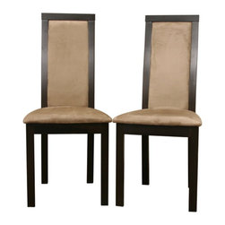 Baxton Studio - Baxton Studio Pollard Dark Brown Modern Dining Chair (Set of 2) - Classic, timeless designer style is yours with the contemporary Pollard Dining Chairs. Small details make these chairs a true treasure: foam padded seats and upholstery in a soft tan microfiber cover both the front and back of the backrests as well as the seat itself. Each chair is made with dark brown wenge veneer over solid wood. The chairs are sold in pairs; assembly is required.