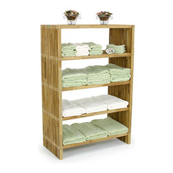 Westminster Teak Furniture - Westminster Teak Storage Floor Towel Shelf - Teak Storage Shelf with the warm, rich tone of the teak wood invites your imagination to such ideas as towel storage and as a bookcase.