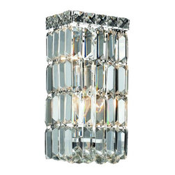 """PWG Lighting / Lighting By Pecaso - Chantal 2-Light 6"""" Crystal Wall Sconce 1728W6C-SS - The unique design of the Chantal Collection inspires any room setting. Dazzling spectacles of light sparkles throughout the fixture creating a modern, yet timeless beauty and elegance."""