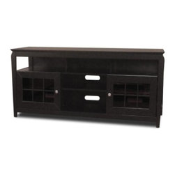 """Tech Craft - Veneto 60-Inch LCD TV Cabinet in Black Finish - Enhance your home theater. It's easy with this versatile Veneto collection TV cabinet. Perfect for your large LCD TV, it has roomy storage and display, thanks to a pair of glass pane doors and plentiful open shelf space. A black finish completes the appearance. 60 in. Wide black """"Hi-Boy"""" fits most 60 in. and smaller flat panels. 28 in. Height makes it perfect for living room or bedroom setting. Perfect for living room or bedroom setting. Convenient component slots holds 3 or more components. Beautiful framed doors for concealed storage. Ample room for wire management. Top shelf compartment: 5 7/8 in. H x 55 in. W. Bottom shelves are adjustable. 60.25 in. W x 20 in. D x 32 in. H"""