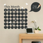 Simple Shapes - Chalkboard Daily Dot Calendar Wall Decal - Stay organized with the help of this fun chalkboard wall calendar. This calendar wall decal incorporates a black chalkboard vinyl that you can write on and erase. It is applied directly to the wall. (Chalk Ink pen not included.)