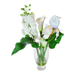 "Jane Seymour Botanicals - Delphinium/Iris/Calla Lily in Glass Vase - A trio of stunning beauty in white — what a wonderful way to add elegance to your favorite setting. The best part? These remarkably realistic ""forever flowers"" will always look just-clipped fresh."