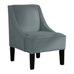 Swoop Upholstered Slipper Accent Chair, Velvet Smoke - This swoop chair makes a beautiful accent to any space. Whether in an entryway or a chic home office, you can't go wrong with a classic velvet chair.