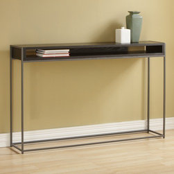"TFG - Wabash Storage Console Table - Features: -Open design keeps magazines and remotes organized and accessible.-Wipe clean with damp cloth.-Frame construction: 0.5'' steel rod powdercoated silver sparkle.-Top construction: 1'' thick veneered.-Top finish: Java.-Wabash collection.-Collection: Wabash.-Top Finish: Java stain finish.-Base Finish: Silver Sparkle powdercoat.-Distressed: No.-Powder Coated Finish: Yes.-Gloss Finish: Yes.-Top Material: Wood veneer.-Base Material: Steel.-Solid Wood Construction: No.-Reclaimed Wood: No.-Weather Resistant or Weatherproof: Not weather resistent.-UV Resistant: No.-Scratch Resistant: No.-Stain Resistant: No.-Moisture Resistant: No.-Drop Leaf Top: No.-Lift Top: No.-Adjustable Height: No.-Glass Component: No.-Nested Stools Included: No.-Legs Included: Yes -Number of Legs: 4.-Leg Type: Straight..-Magazine Rack: No.-Casters: No.-Exterior Shelves: Yes.-Cabinets Included: No.-Drawers: No.-Corner Block: No.-Cable Management: No.-Weight Capacity: 40 lbs.-Outdoor Use: No.-Swatch Available: Yes.-Commercial Use: No.-Recycled Content: No.-Eco-Friendly: Yes.-Product Care: Wipe clean with a dry cloth.Specifications: -FSC Certified: No.-ISTA 3A Certified: No.-ISTA 1A Certified: No.-CARB Certified: Yes.-General Conformity Certified: No.-ISO 9000 Certified: No.-ISO 14000 Certified: No.Dimensions: -Overall Height - Top to Bottom: 31"".-Overall Width - Side to Side: 48.5"".-Overall Depth - Front to Back: 8"".-Table Top Thickness: 1"".-Table Top Width - Side to Side: 48.5"".-Table Top Depth - Front to Back: 8"".-Shelving: -Shelf Height - Top to Bottom: 2.5"".-Shelf Width - Side to Side: 45.75"".-Shelf Depth - Front to Back: 8""..-Cabinets: No.-Legs: -Leg Height - Top to Bottom: 30.5""..-Overall Product Weight: 41 lbs.Assembly: -Assembly Required: No.-Tools Needed: No tools needed.-Additional Parts Required: No.Warranty: -Product Warranty: 1 year limited warranty."