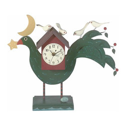 "Renovators Supply - Desk Accessories Green Wood Bird Clock for Desk | 63877 - This handpainted whimsical timepiece is folkart with a purpose. Takes 1 AA battery (not included). 20"" wide x 6"" high."