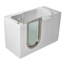 Ella's Bubbles - Ella Petite Soaking Acrylic Walk In Bath Left Side Door and Drain - The Ella Petite Soaking Walk In Tub is designed to fulfill the need for a smaller walk in bath. The Ella Petite Models have a seat that is as wide as the standard size Ella Deluxe Model (19 3/4 inches). At 2 inches narrower than our standard size, the Ella Petite Soaking Model still offers the same luxurious features such as a unique detachable swivel tray, ability to lower the step in threshold, and a removable rubber backrest. A perfect solution for those in need of safer bathing, the Ella Petite walk in tub comes standard with a textured slip resistant floor, a deck mount safety grab bar, and Dual Drain Technology which allows the tub to drain in as little as 80 seconds. For guaranteed exit reliability, the Ella Petite walk in tubs are equipped with two 2-inch drains, two overflows and two drain openers.