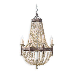 Kathy Kuo Home - Maroma Coastal Beach Scalloped Wood Bead Metal Chandelier - If you fancy living in a castle but do not fancy the price tag, there is a solution. This chandelier features draped wooden beads and a bronze metal base that brings about dreams of dragons and towers and of course, luxury.