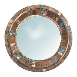 Nantucket Round Mirror, Medium Brown - Built from reclaimed hardwoods, the lovely Nantucket Round Mirror is finished to look almost as though it has been tiled with distressed paint over a medium brown wood. The round shape of the polished, flat glass mirror is echoed in the concentric, round bordering. Casual and stylish, this appealing mirror will add dimension and brightness to any room in the home.