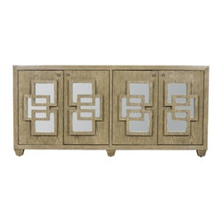 Worlds Away - Crosby Lio Media Cabinet - 4-door media console in limed oak veneer with inset mirror doors, adjustable interior shelf and drill outs in back.