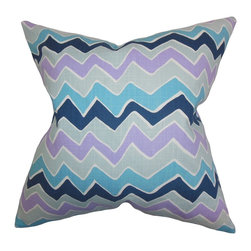 "The Pillow Collection - Achsah Zigzag Pillow Purple Blue - This accent pillow lends a colorful twist to your home with its playful charm. This throw pillow features a quirky zigzag pattern in shades of purple, blue, green and white. Throw a few pieces of this 18"" pillow on your sofa, chair or bed. This 100% cotton-made pillow is perfect for lounging in style."